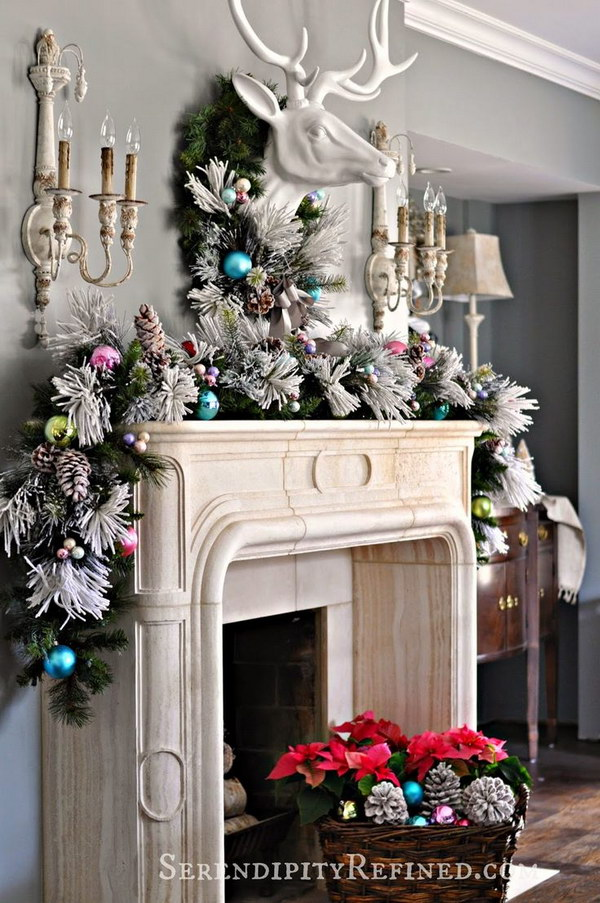 elegant christmas mantel decoration with thick full garland