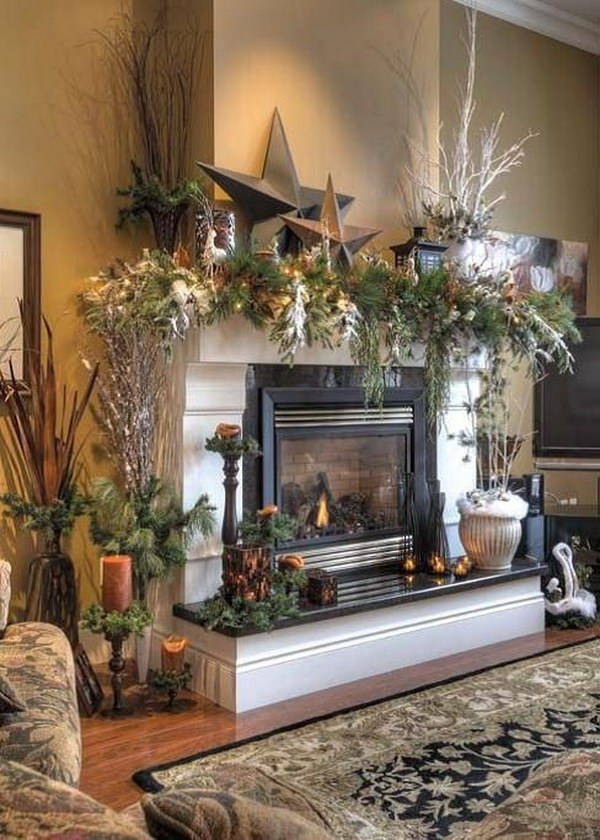 Christmas Mantel With Stars Craft Paper and Lantern and Pines Cones and Leaves