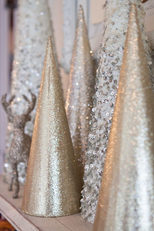 Pretty Sparkly Mini Christmas Trees for Christmas Mantel