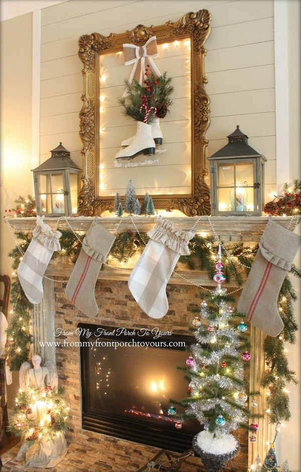 25 gorgeous christmas mantel decoration ideas tutorials decorating fireplace mantels for christmas pinterest