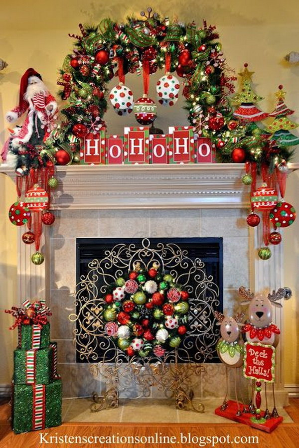 25 gorgeous christmas mantel decoration ideas tutorials for Christmas mantel design ideas