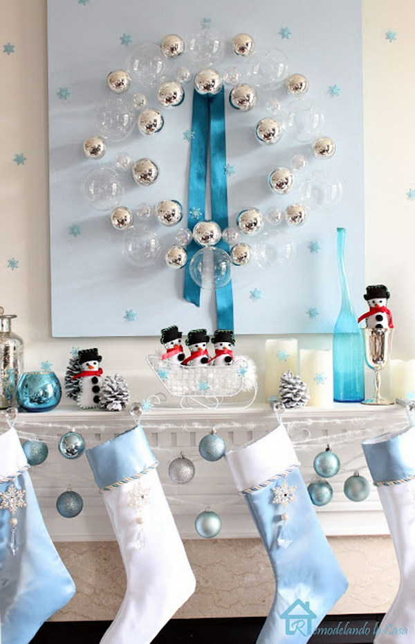 blue christmas mantel with a bubble wreath
