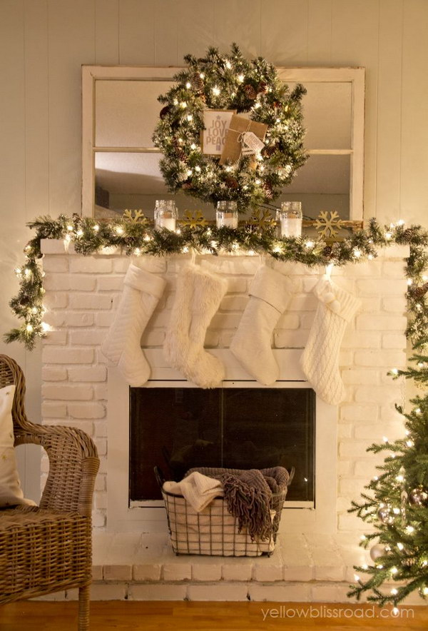 Gorgeous Christmas Mantel Decoration Ideas Tutorials Hative - Mantel christmas decorating ideas