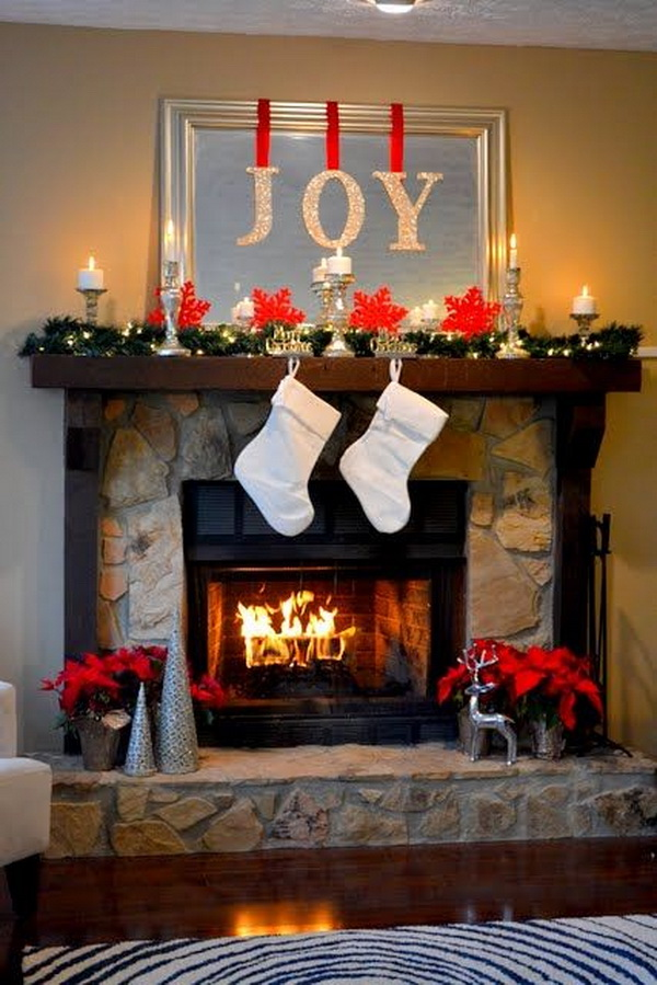 simple beautiful holiday mantel diy joy letters - Beautiful Mantel Christmas Decorations