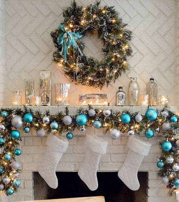 elegant christmas mantel in turquoise white and silver
