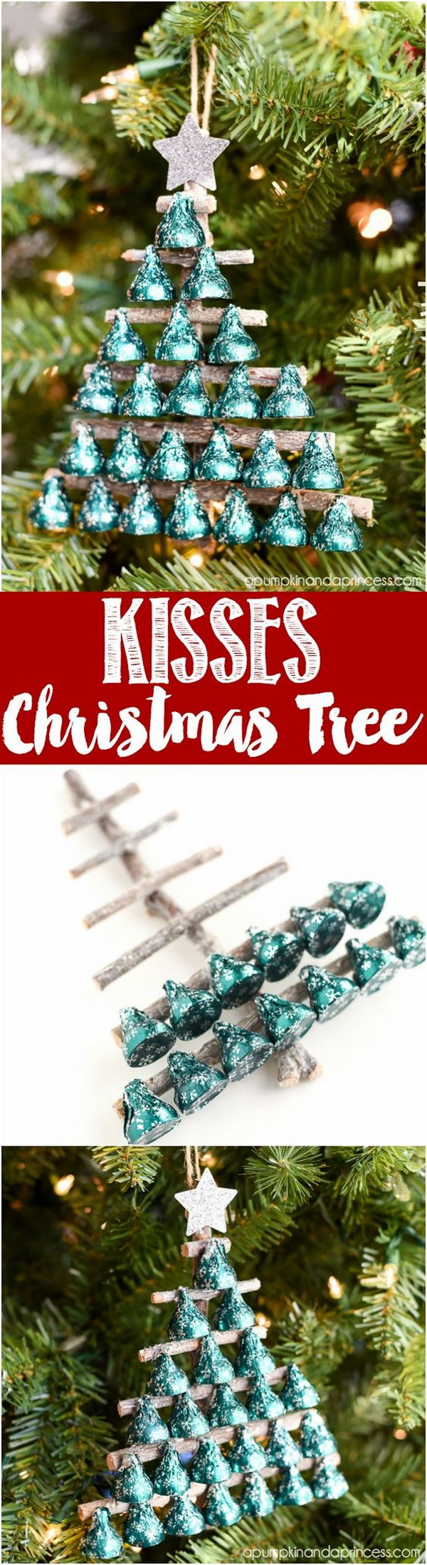 DIY Kisses Candy Christmas Tree Ornament.