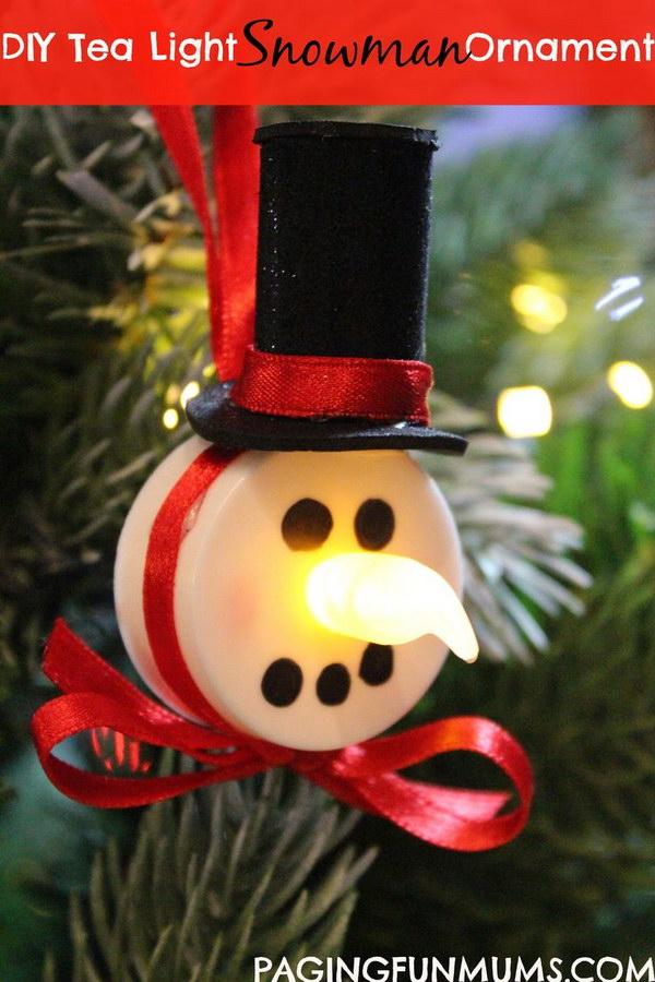 Tea Light Snowman Ornament.