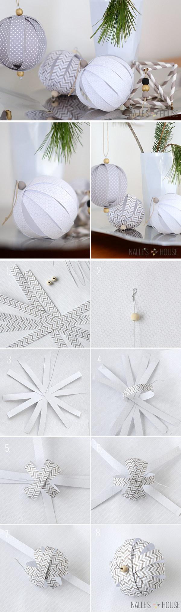 DIY Paper Ball Ornaments.