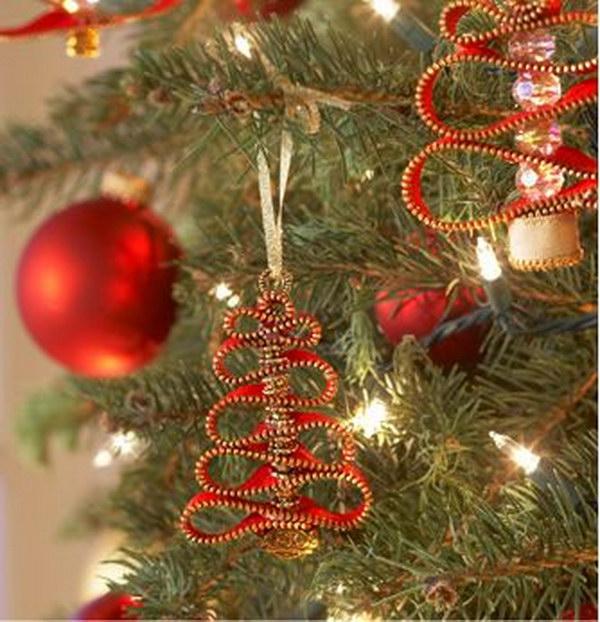 Zipper bead Christmas tree ornament.