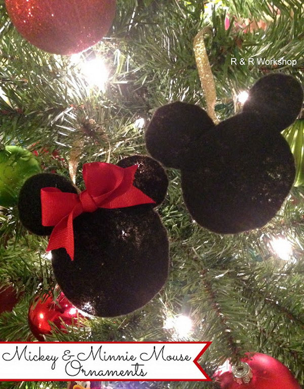 DIY Mickey And Minnie Mouse Ornaments.