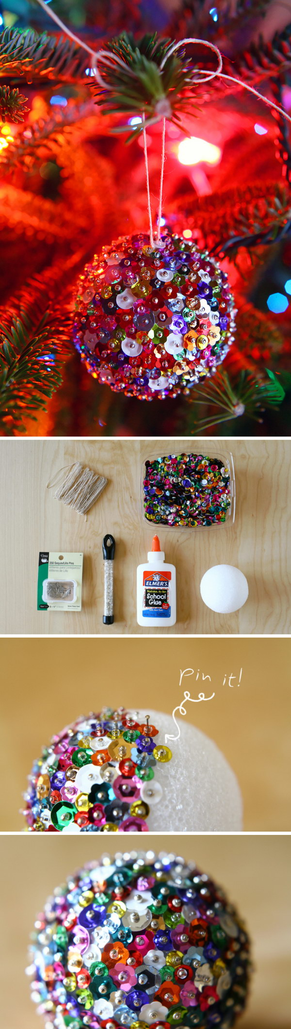 DIY Sequin Sparkles Ornament.