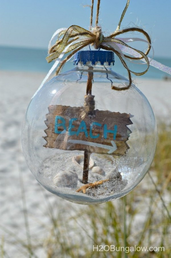 DIY Beach Themed Christmas Ornament.