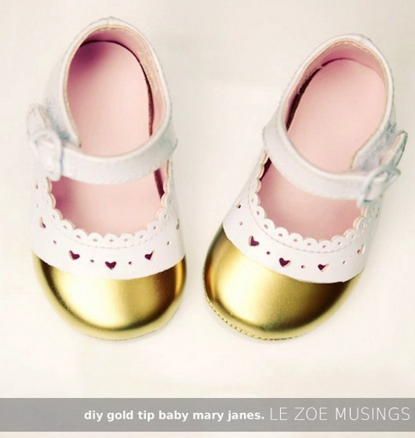 DIY Gold Tip Baby Mary Janes