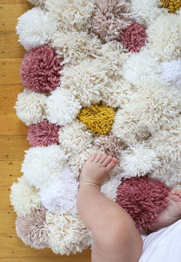 60 simple cute things or gifts you can diy for a baby hative i cant believe how easy it is to make this cute pom pom rug it looks great in the baby girls room and shell in love with it when sinking her little negle Choice Image