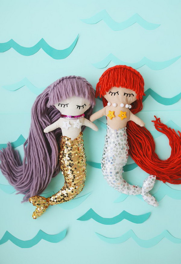 Easy DIY Mermaid Plush Dolls with Downloadable Pattern