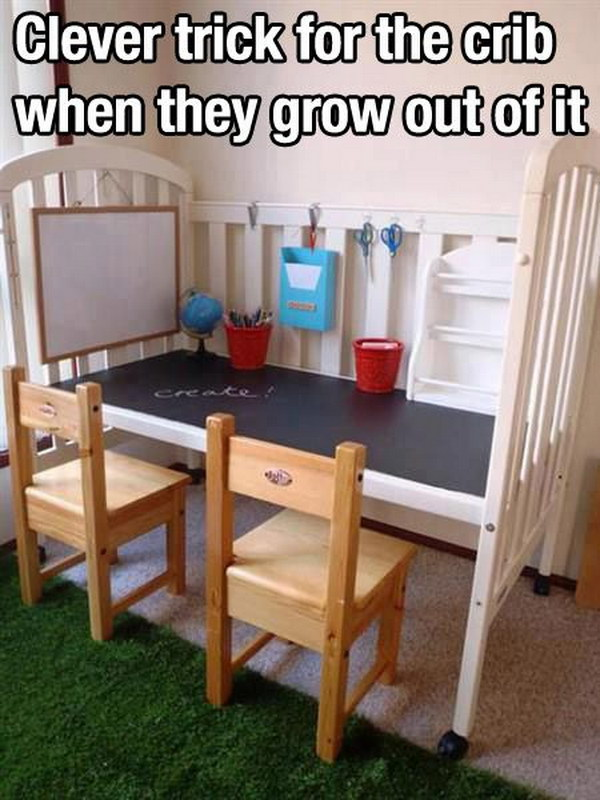 Recycle an Old Crib into a Craft or Work Station for Kids