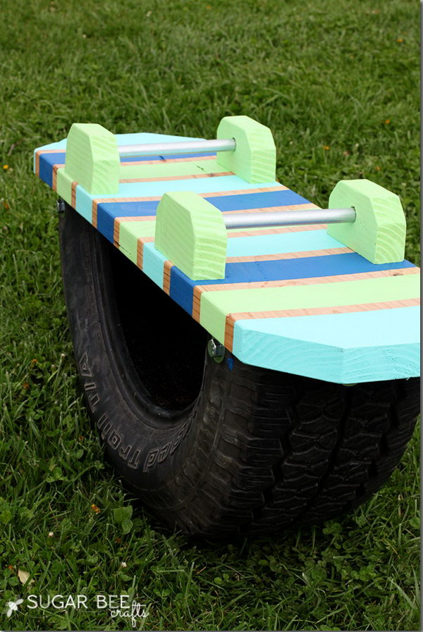 Teeter Totter Made out of an Old Tire
