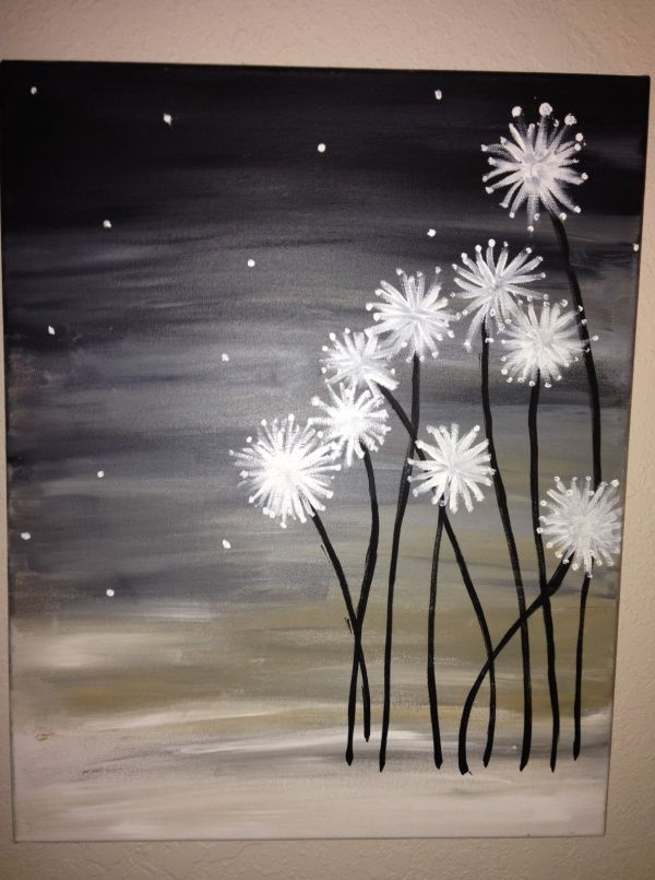 Freehand dandelion canvas