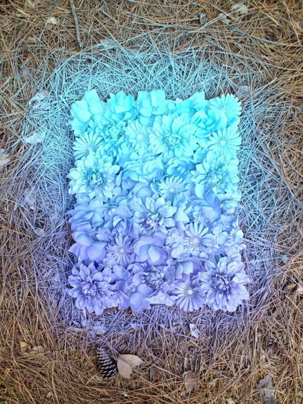 DIY Fake Flower Ombre Wall Art