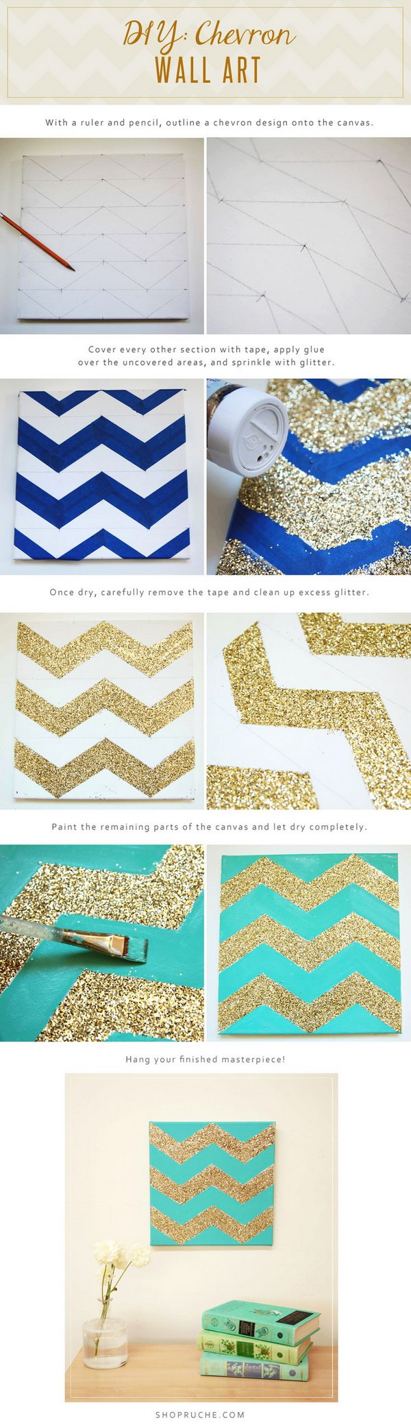 Glittery Chevron Wall Art