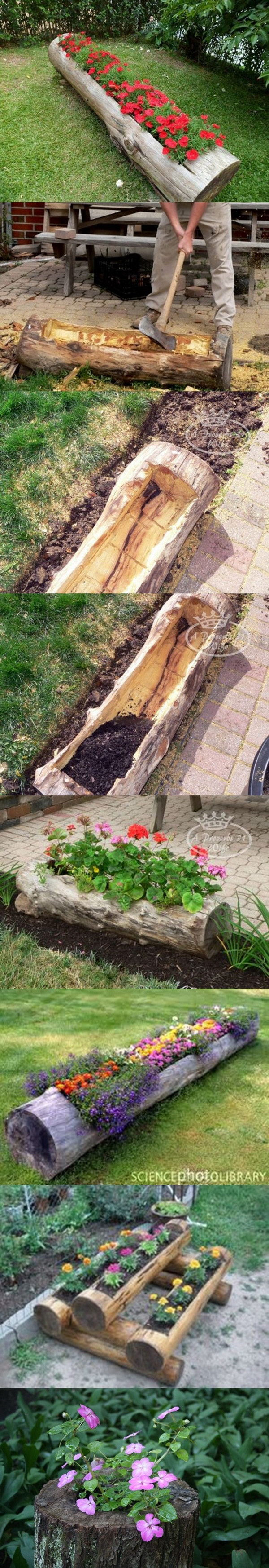Make Beautiful Log Garden Planter