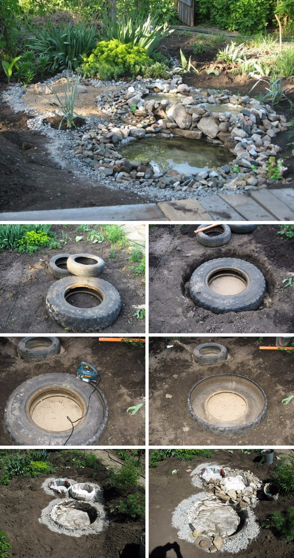 Create a Garden Pond with Recycled Tires