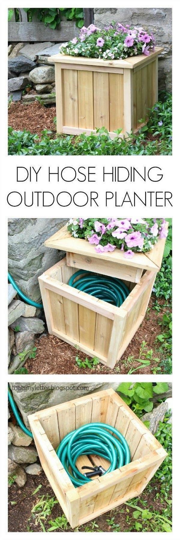 Hide Your Hose in a DIY Planter