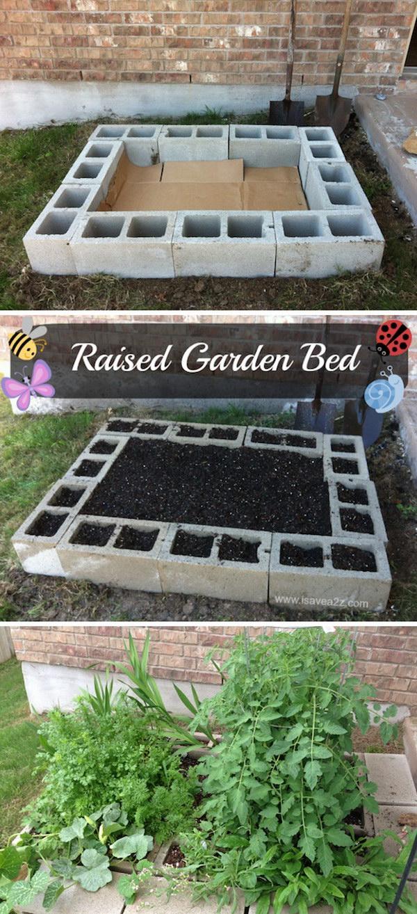 DIY Cinder Block Raised Garden Bed Tutorial