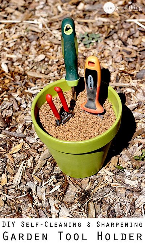 Make a Self Cleaning and Self Sharpening Garden Tool Holder