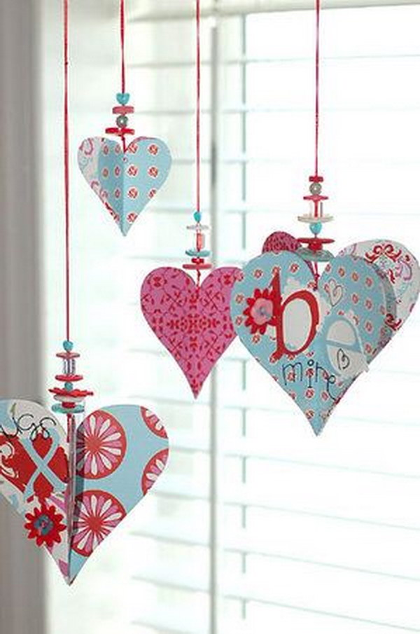 Heart Ornaments with Beads