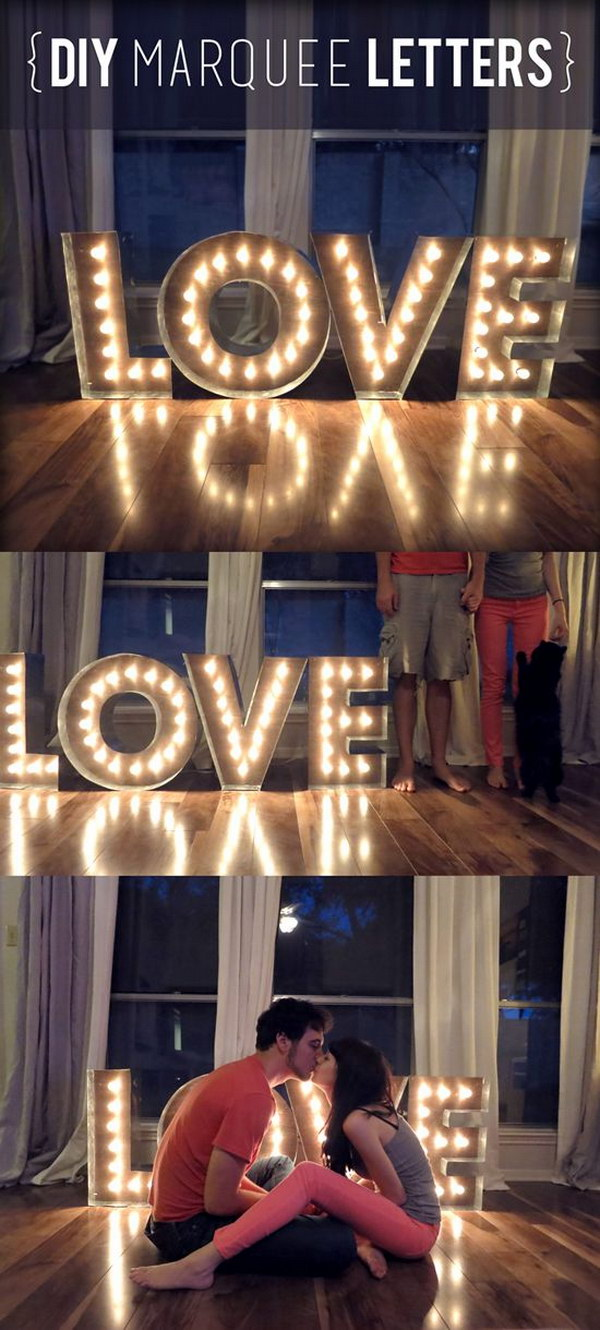 DIY Love Marquee Letters and Lights