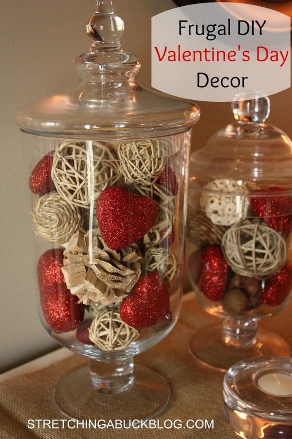 Valentine's Day Glitter Hearts Jar