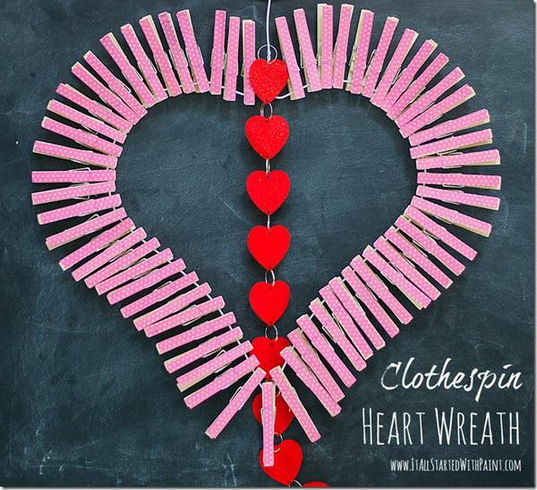 Adorable Clothespin Heart Wreath