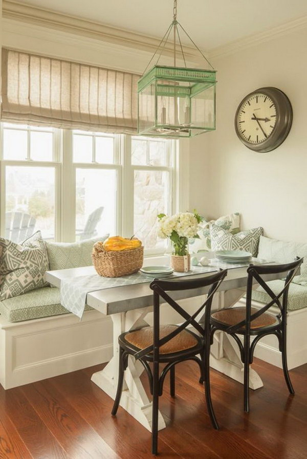 Good Light Green Themed Breakfast Nook.