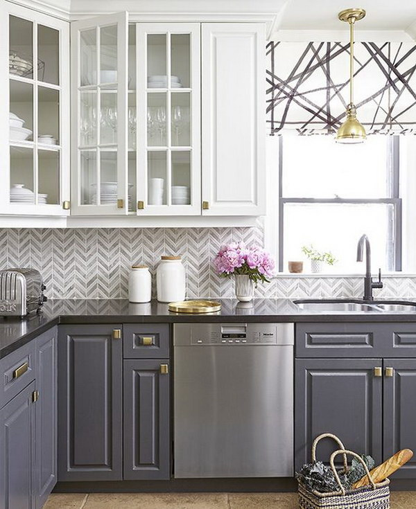 white and grey kitchen cabinets with gold hardware - Kitchen Cabinet Ideas