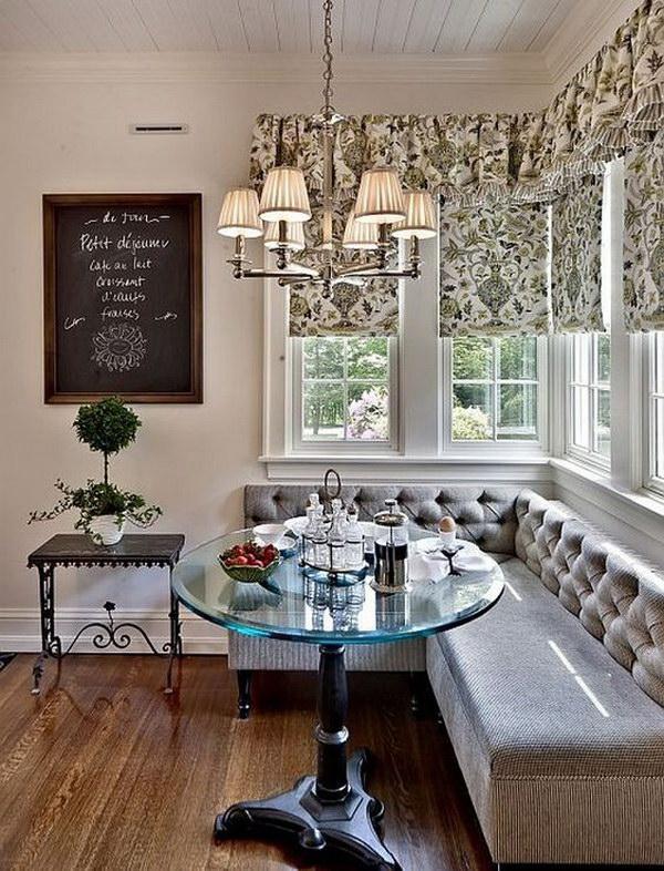 Farmhouse Breakfast Nook with Chalkboard.