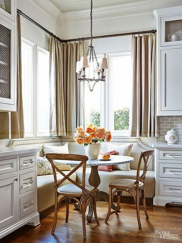 Breakfast Nook With Corner Upholstered Banquette.