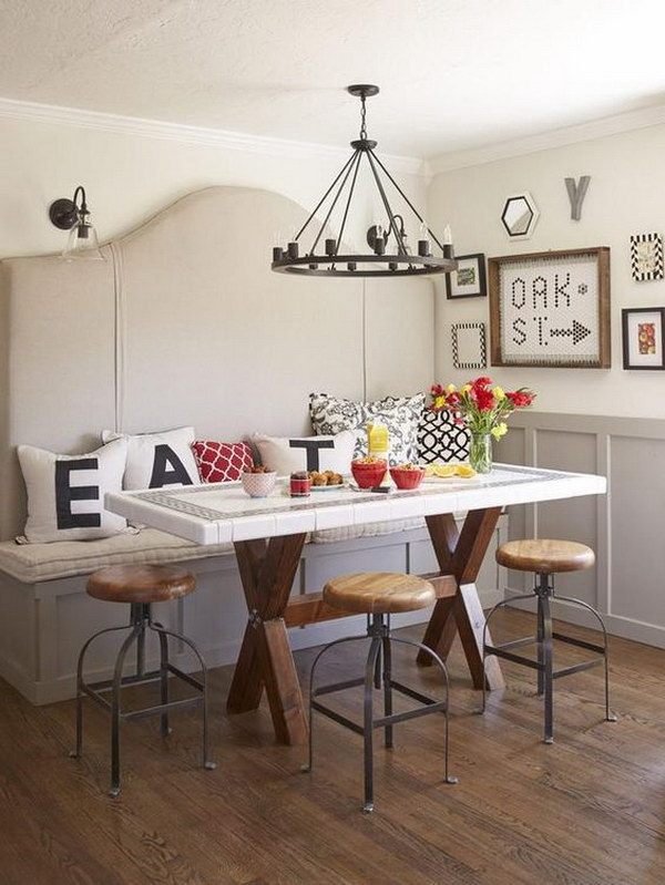 Breakfast Nook With Customized Decorative Pillows