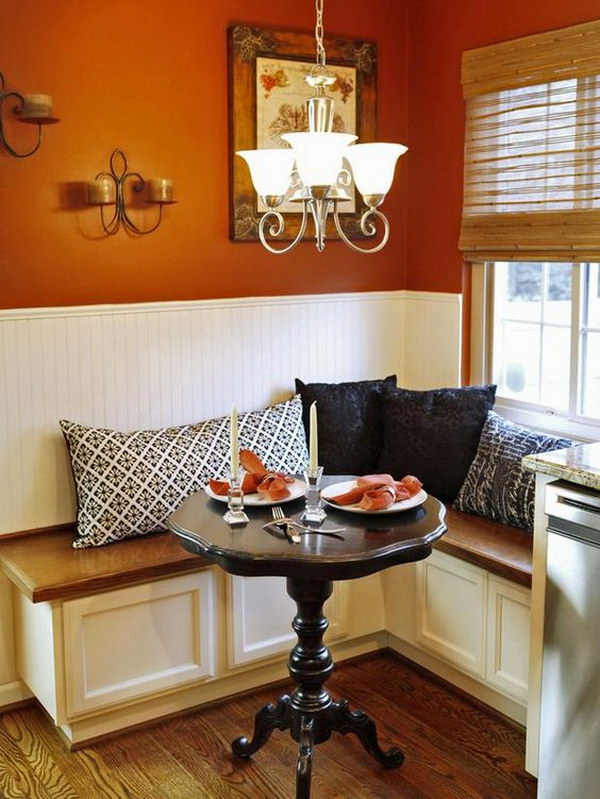 Small Breakfast Nook with L-Shaped Banquette Seating.