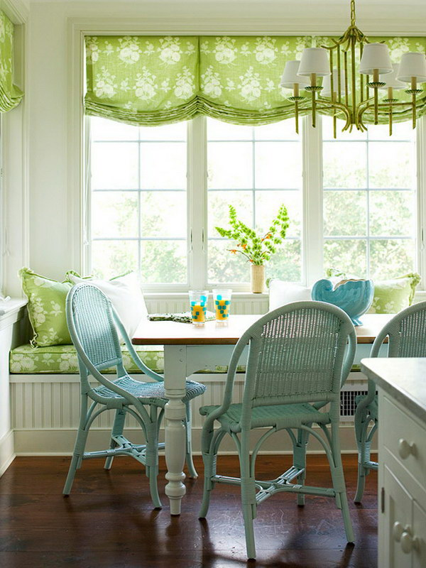 Cottage Style Breakfast Nook with a Window Seat.