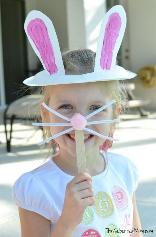 20 last minute diy easter ideas hative paper plate easter bunny ears bunny nose mask for kids negle Choice Image