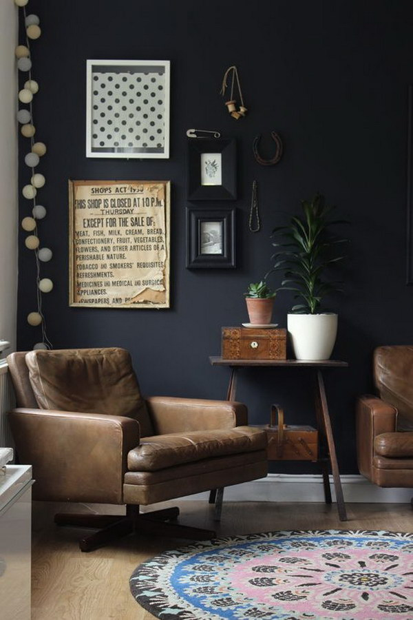 Black Living Room Vintage Furniture And Details.