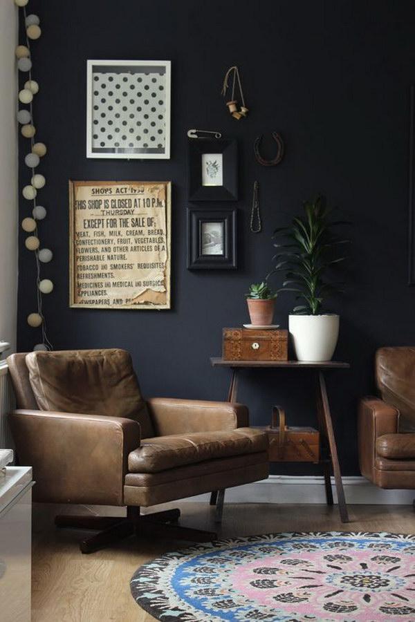 Black Living Room Vintage Furniture And Details.