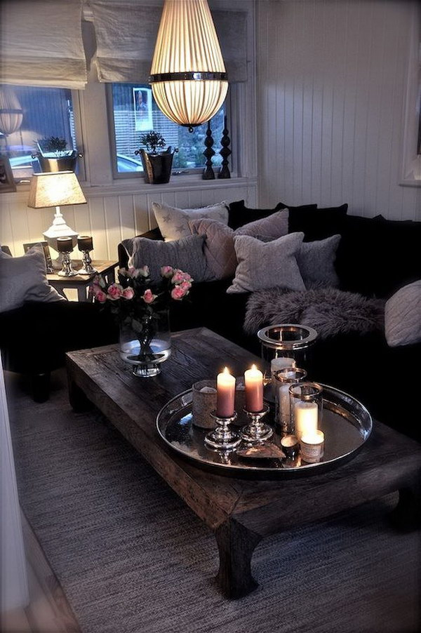 Black And White Cozy Living Room.