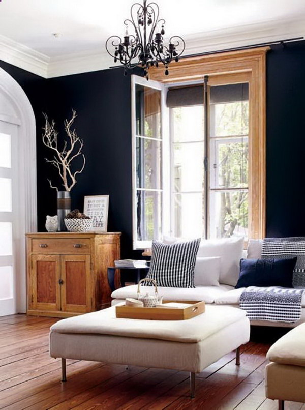Living Room with Black Painting Walls.