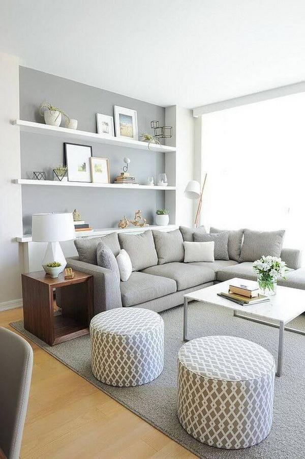 Traditional Gray Living Room.