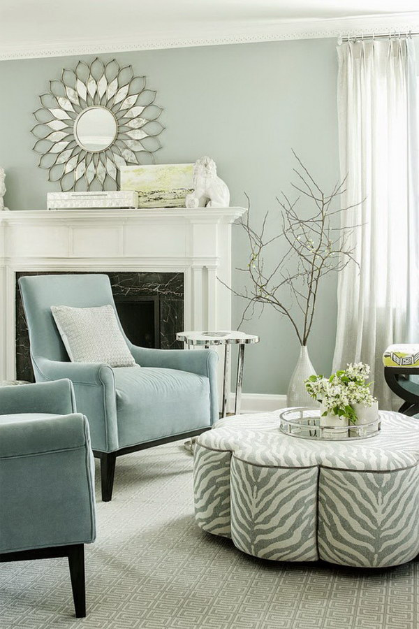 Elegant A Little Bit Blue U0026 Gray Living Room