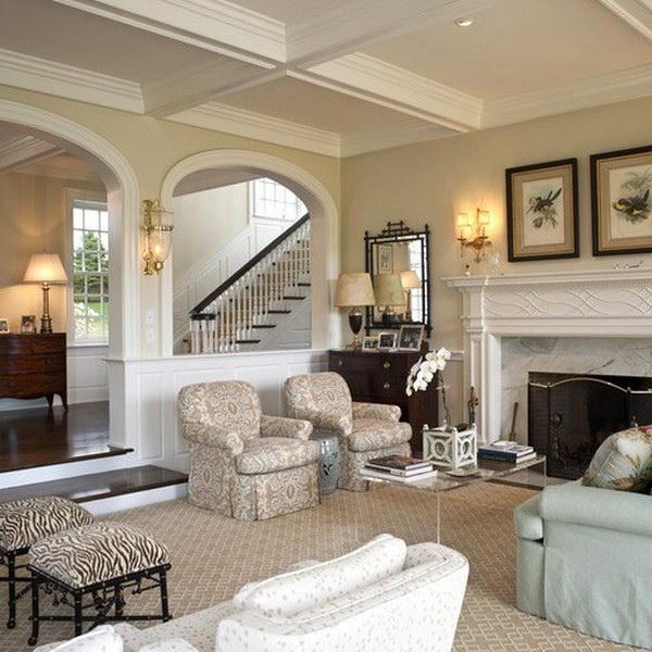 Formal Open Concept Living Room in Philadelphia with Beige Walls.