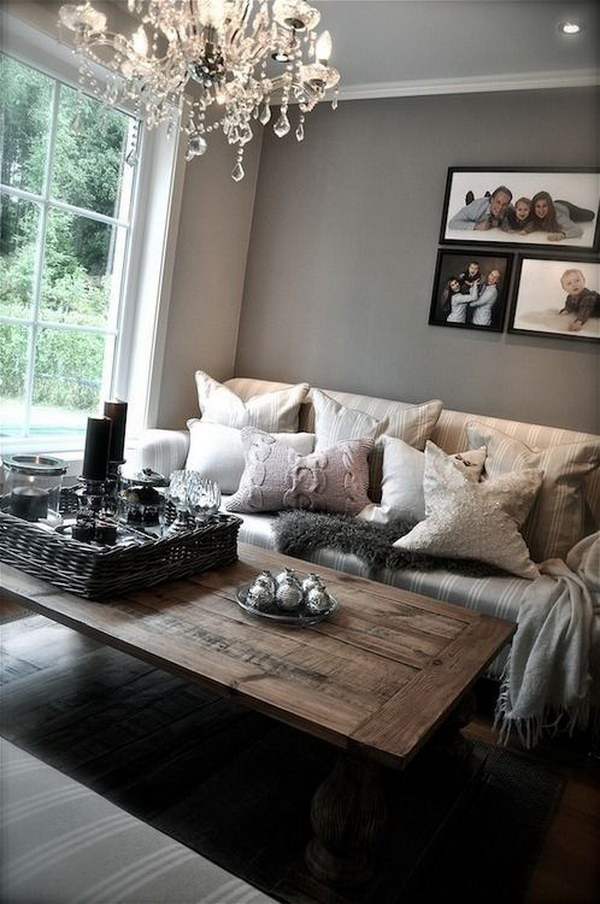 Gray And White Transitional Rustic Living Room With: Pretty Living Room Colors For Inspiration