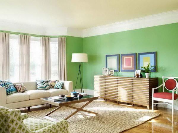 Happy Green Living Room.